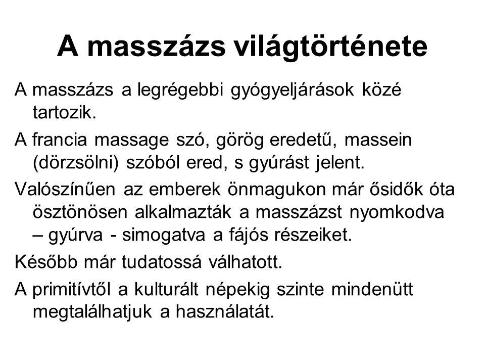 A masszázs világtörténete A masszázs a legrégebbi gyógyeljárások közé tartozik. A francia massage szó, görög eredetű, massein (dörzsölni) szóból ered,