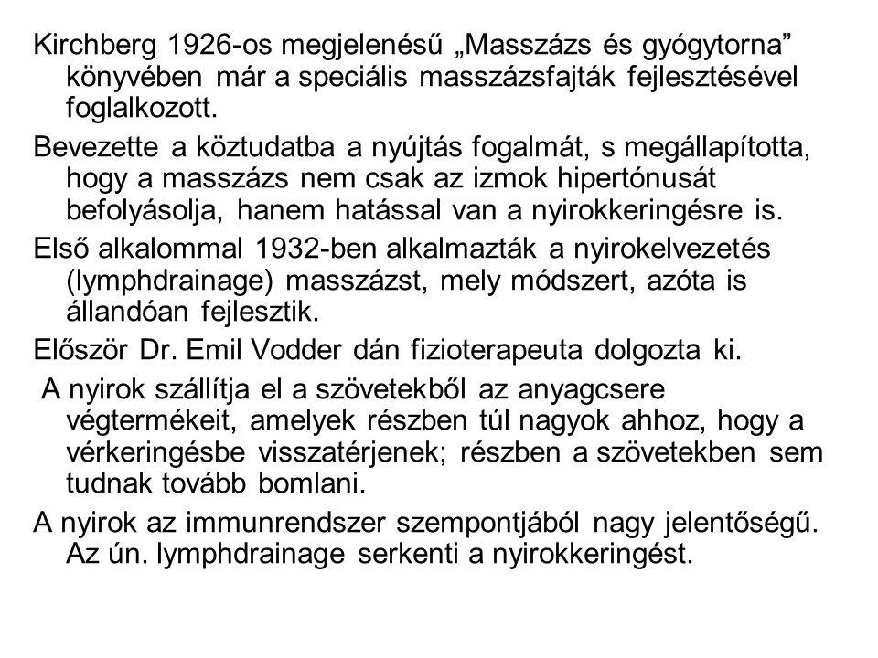 """Kirchberg 1926-os megjelenésű """"Masszázs és gyógytorna"""" könyvében már a speciális masszázsfajták fejlesztésével foglalkozott. Bevezette a köztudatba a"""