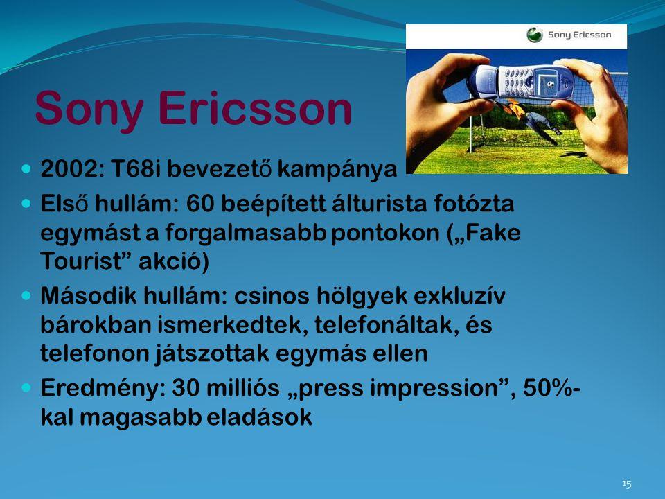 """Sony Ericsson 2002: T68i bevezet ő kampánya Els ő hullám: 60 beépített álturista fotózta egymást a forgalmasabb pontokon (""""Fake Tourist"""" akció) Másodi"""