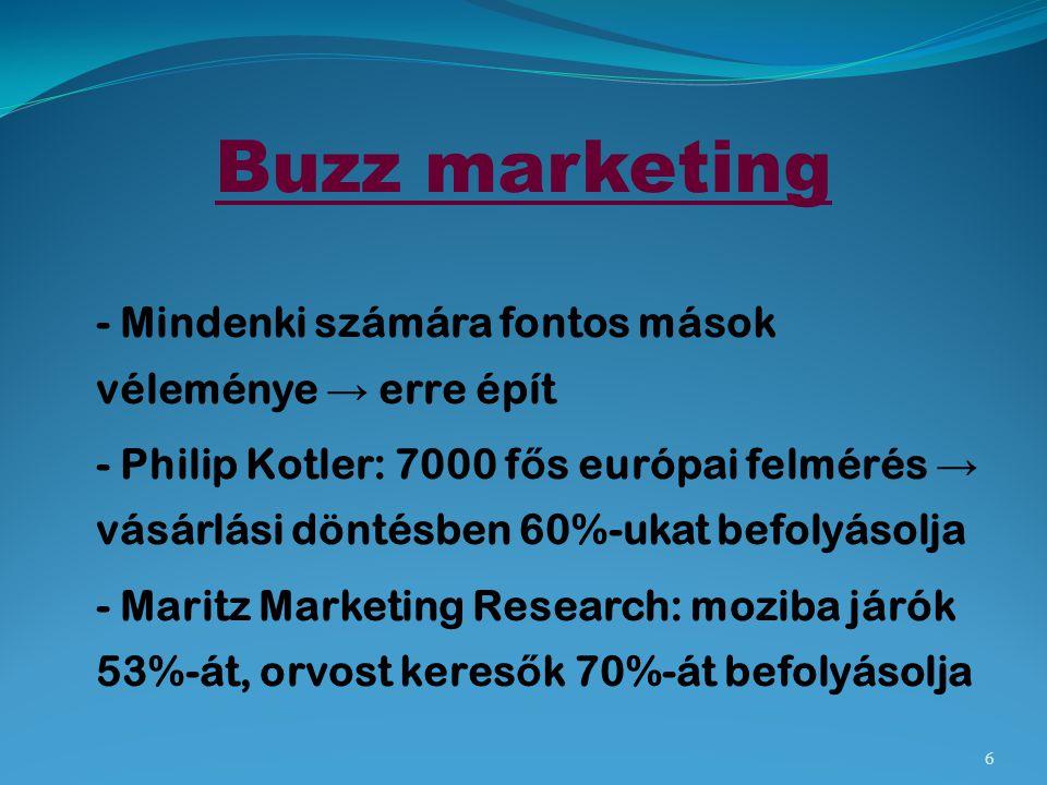 Buzz marketing - Mindenki számára fontos mások véleménye → erre épít - Philip Kotler: 7000 f ő s európai felmérés → vásárlási döntésben 60%-ukat befol
