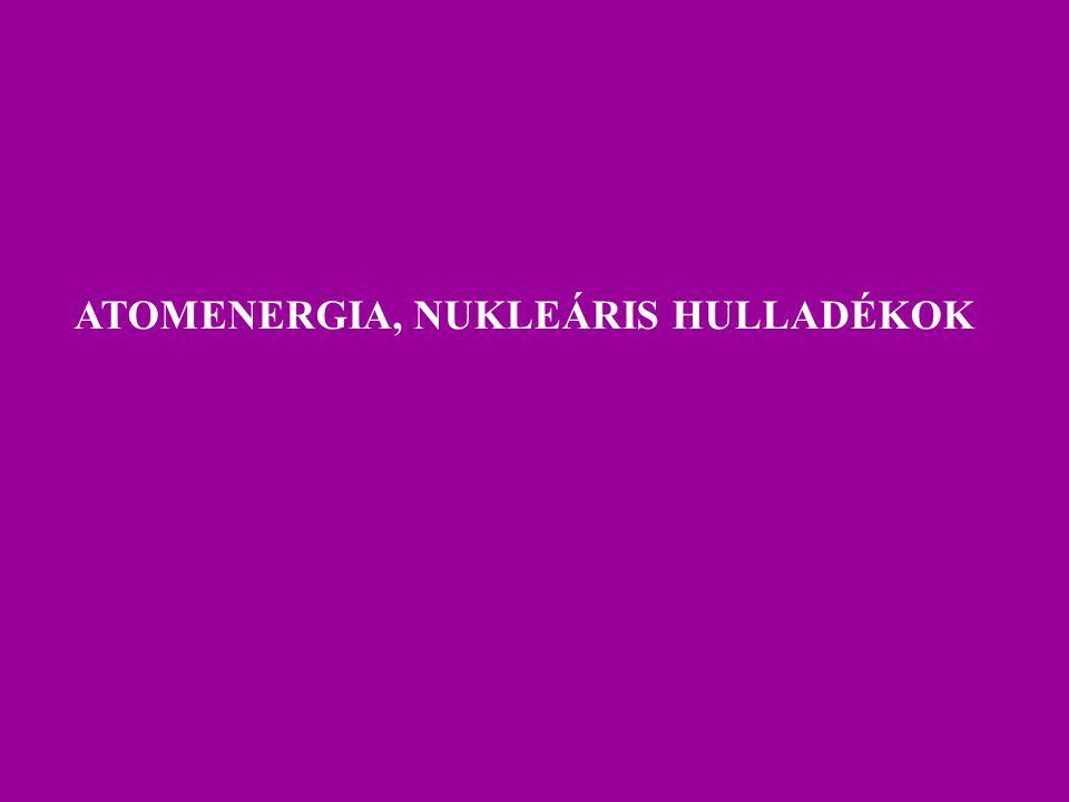 AZ ATOMENERGIA-HASZNOSÍTÁS TERÜLETI MEGOSZLÁSA Kb. 30 országban 480 atomerőmű blokk.