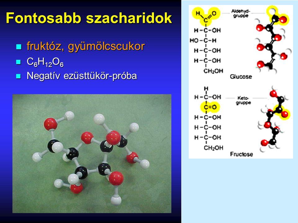Fontosabb szacharidok n fruktóz, gyümölcscukor n C 6 H 12 O 6 n Negatív ezüsttükör-próba