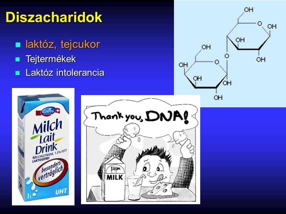 Diszacharidok n laktóz, tejcukor n Tejtermékek n Laktóz intolerancia