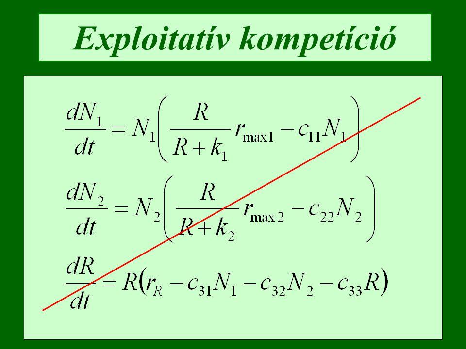 Exploitatív kompetíció szimulációja R N1 N2