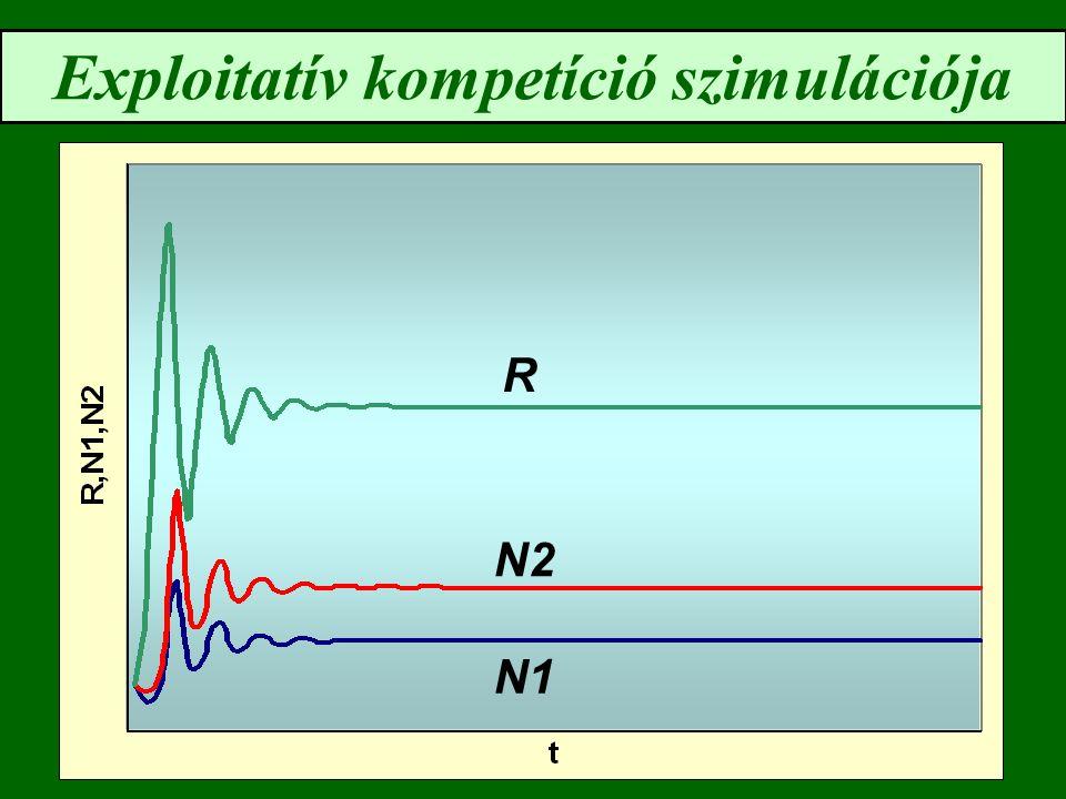 Lotka-Volterra interferencia modell: az instabil egyensúly feltétele N1N1 N2N2