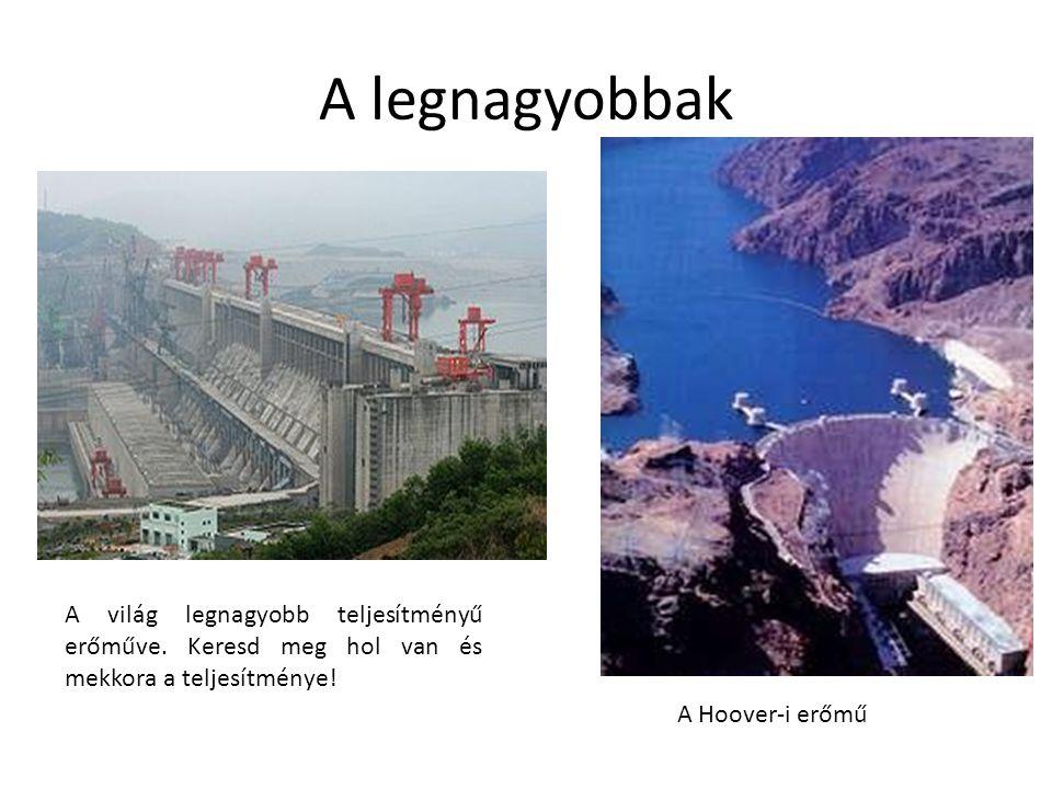 A legnagyobbak A világ legnagyobb teljesítményű erőműve. Keresd meg hol van és mekkora a teljesítménye! A Hoover-i erőmű