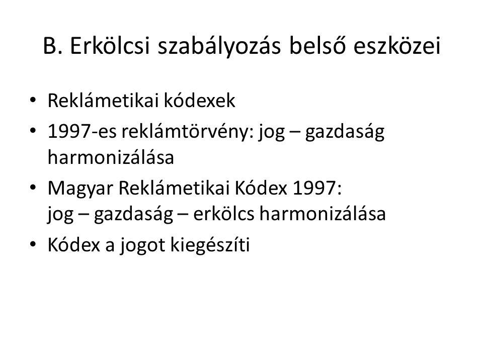 B. Erkölcsi szabályozás belső eszközei Reklámetikai kódexek 1997-es reklámtörvény: jog – gazdaság harmonizálása Magyar Reklámetikai Kódex 1997: jog –