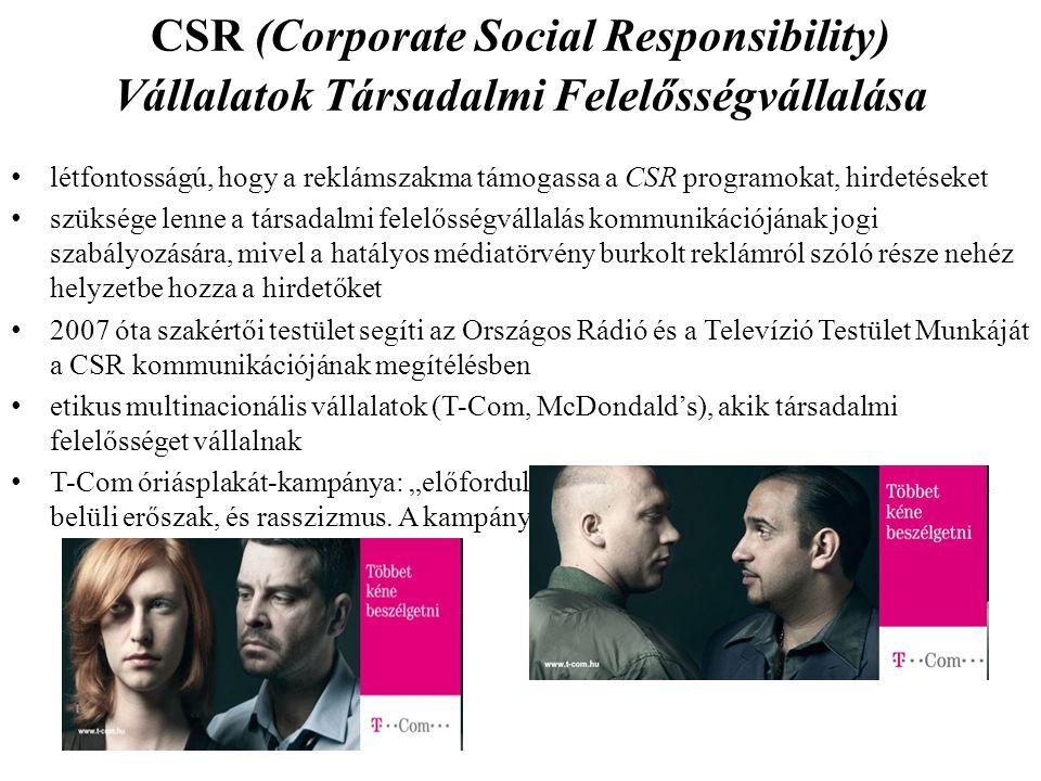 CSR (Corporate Social Responsibility) Vállalatok Társadalmi Felelősségvállalása létfontosságú, hogy a reklámszakma támogassa a CSR programokat, hirdet