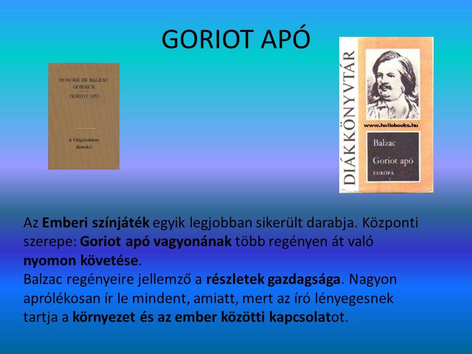 GORIOT APÓ Az Emberi színjáték egyik legjobban sikerült darabja. Központi szerepe: Goriot apó vagyonának több regényen át való nyomon követése. Balzac
