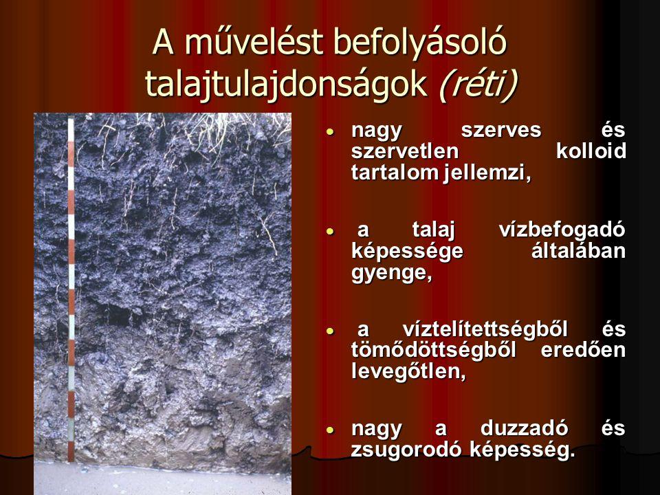 A művelést befolyásoló talajtulajdonságok (réti)  nagy szerves és szervetlen kolloid tartalom jellemzi,  a talaj vízbefogadó képessége általában gye
