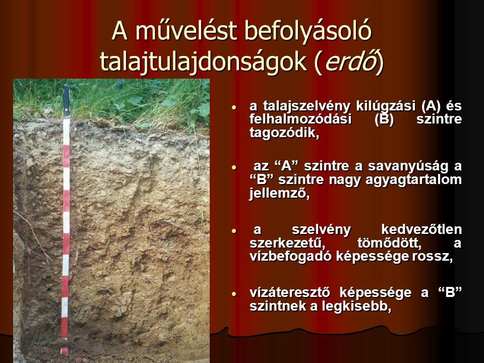 """A művelést befolyásoló talajtulajdonságok (erdő)  a talajszelvény kilúgzási (A) és felhalmozódási (B) szintre tagozódik,  az """"A"""" szintre a savanyúsá"""
