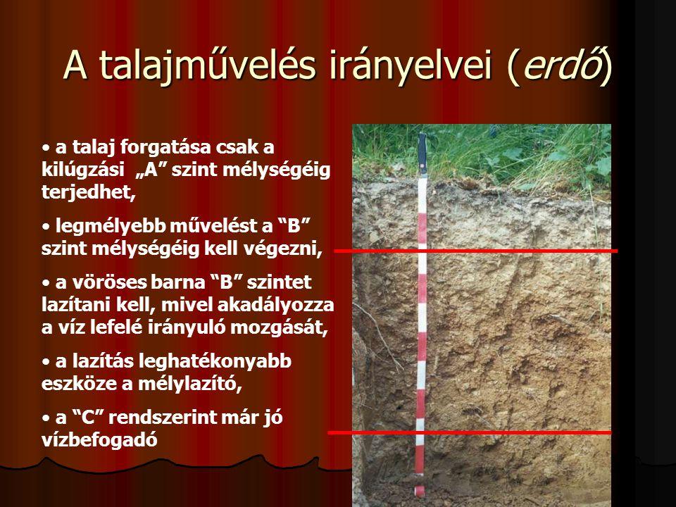 """A talajművelés irányelvei (erdő) a talaj forgatása csak a kilúgzási """"A"""" szint mélységéig terjedhet, legmélyebb művelést a """"B"""" szint mélységéig kell vé"""