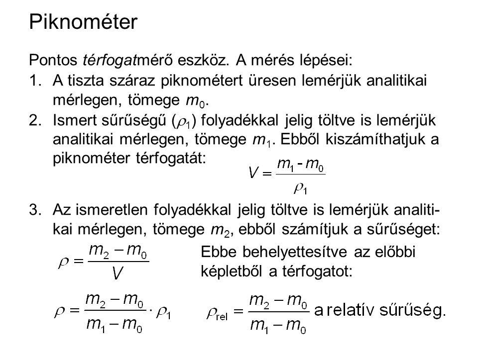 Szilárd anyag sűrűségmérése piknométerrel A mérés lépései: 1.A tiszta, száraz piknométert analitikai mérlegen megmérjük (m 0 ).