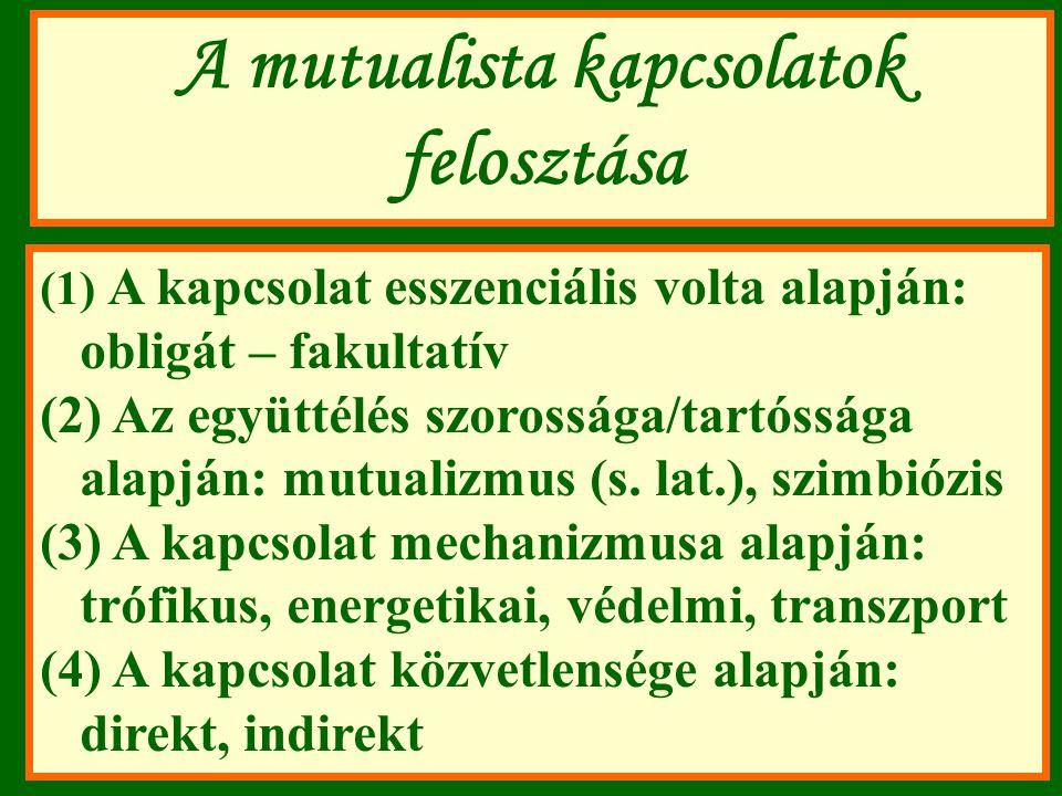 A mutualista kapcsolatok felosztása (1) A kapcsolat esszenciális volta alapján: obligát – fakultatív (2) Az együttélés szorossága/tartóssága alapján: