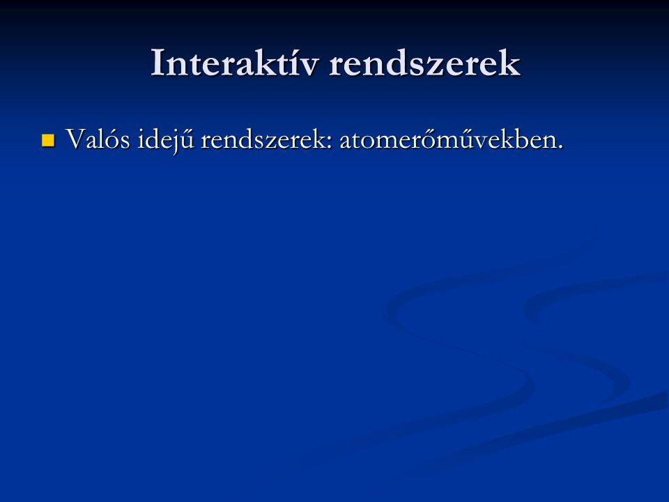 Interaktív rendszerek Valós idejű rendszerek: atomerőművekben. Valós idejű rendszerek: atomerőművekben.
