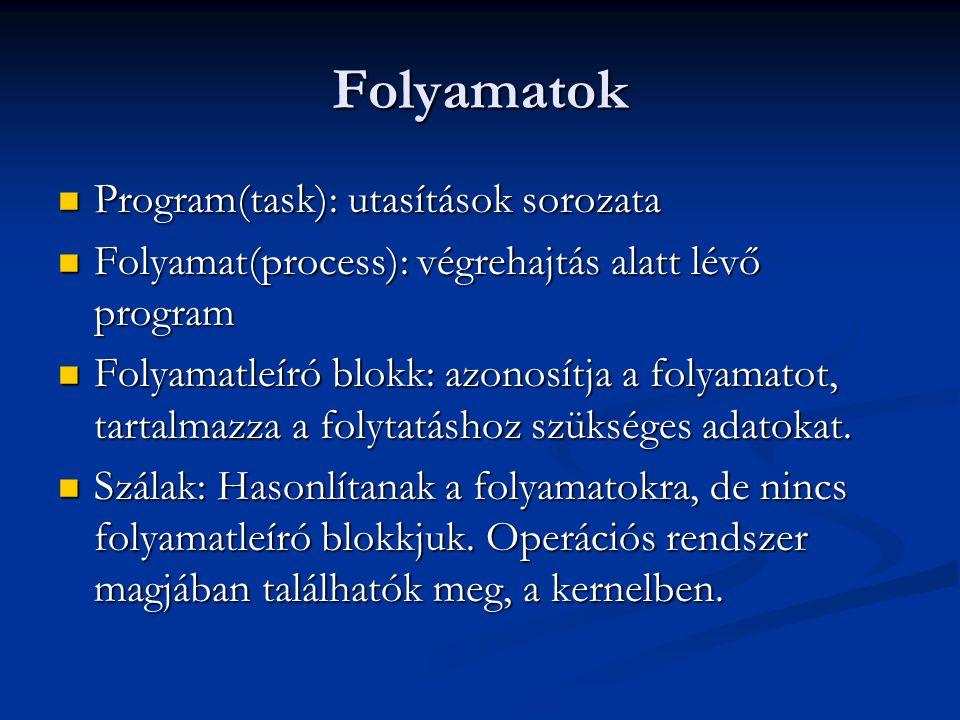 Folyamatok Program(task): utasítások sorozata Program(task): utasítások sorozata Folyamat(process): végrehajtás alatt lévő program Folyamat(process):