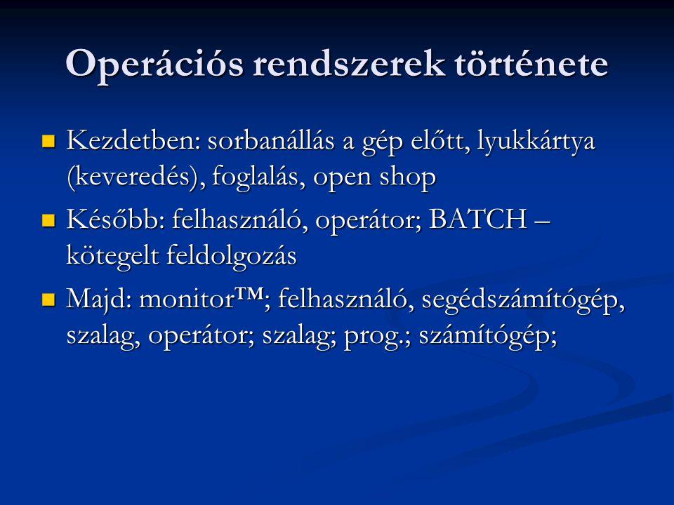 Operációs rendszerek története Kezdetben: sorbanállás a gép előtt, lyukkártya (keveredés), foglalás, open shop Kezdetben: sorbanállás a gép előtt, lyu