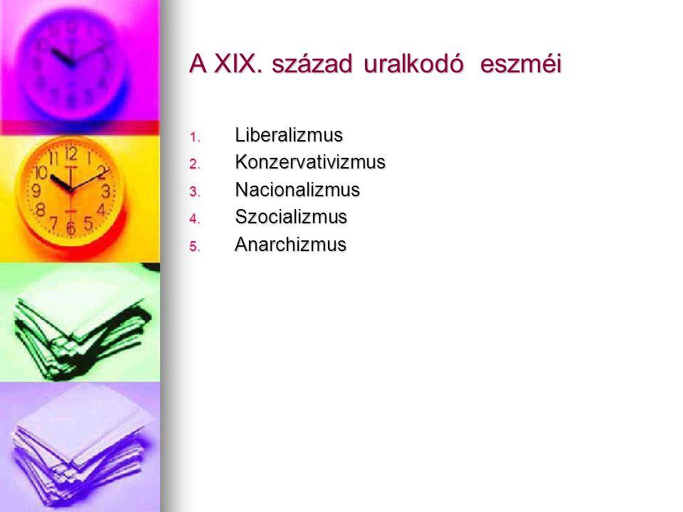 1. Liberalizmus 2. Konzervativizmus 3. Nacionalizmus 4. Szocializmus 5. Anarchizmus