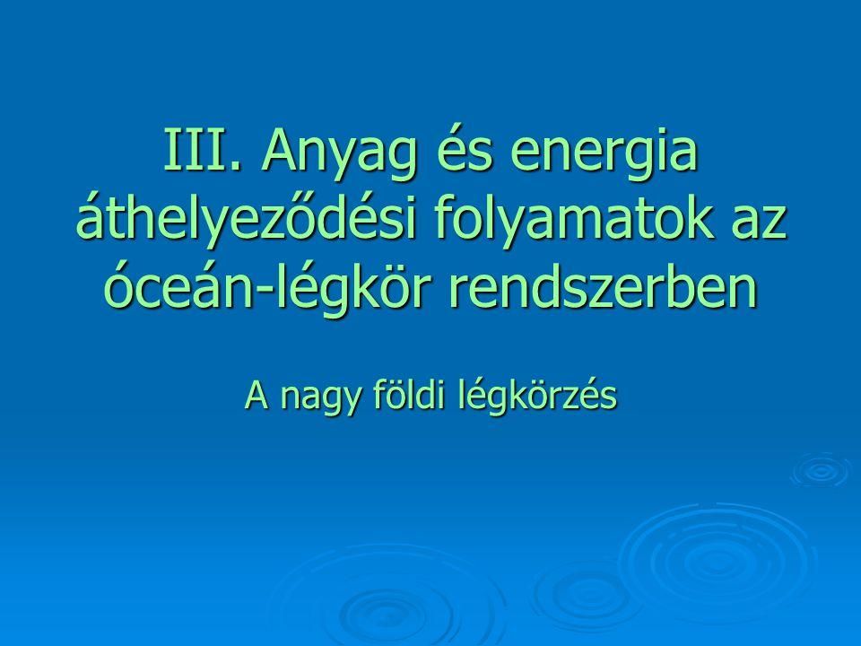 III. Anyag és energia áthelyeződési folyamatok az óceán-légkör rendszerben A nagy földi légkörzés