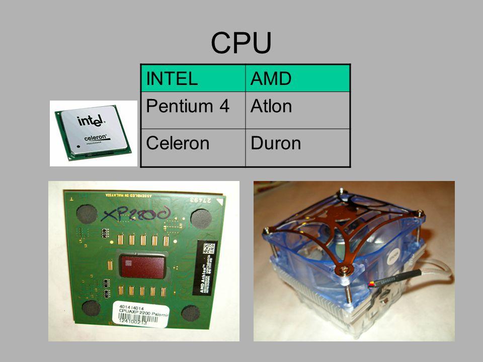 CPU INTELAMD Pentium 4Atlon CeleronDuron