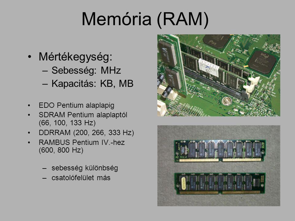 Memória (RAM) Mértékegység: –Sebesség: MHz –Kapacitás: KB, MB EDO Pentium alaplapig SDRAM Pentium alaplaptól (66, 100, 133 Hz) DDRRAM (200, 266, 333 H