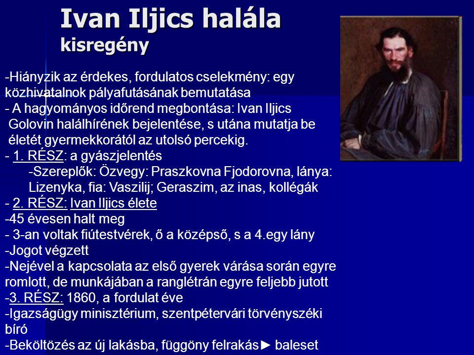 Ivan Iljics halála kisregény -Hiányzik az érdekes, fordulatos cselekmény: egy közhivatalnok pályafutásának bemutatása - A hagyományos időrend megbontá
