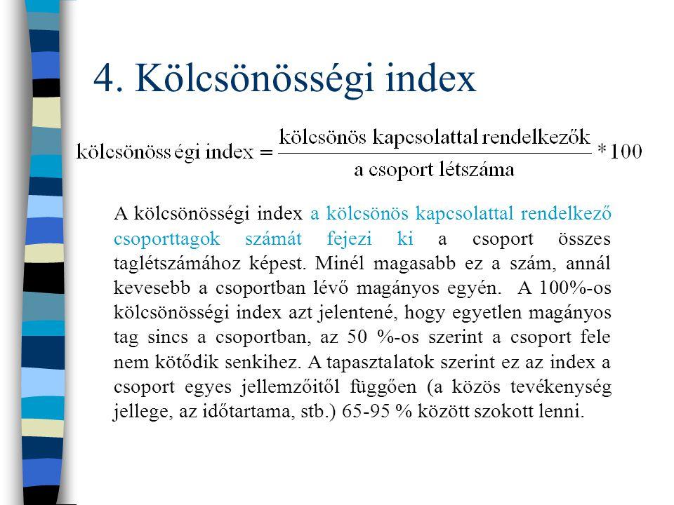 4. Mutatók kiszámítása n Kölcsönösségi index n Sűrűségi index n Kohéziós index
