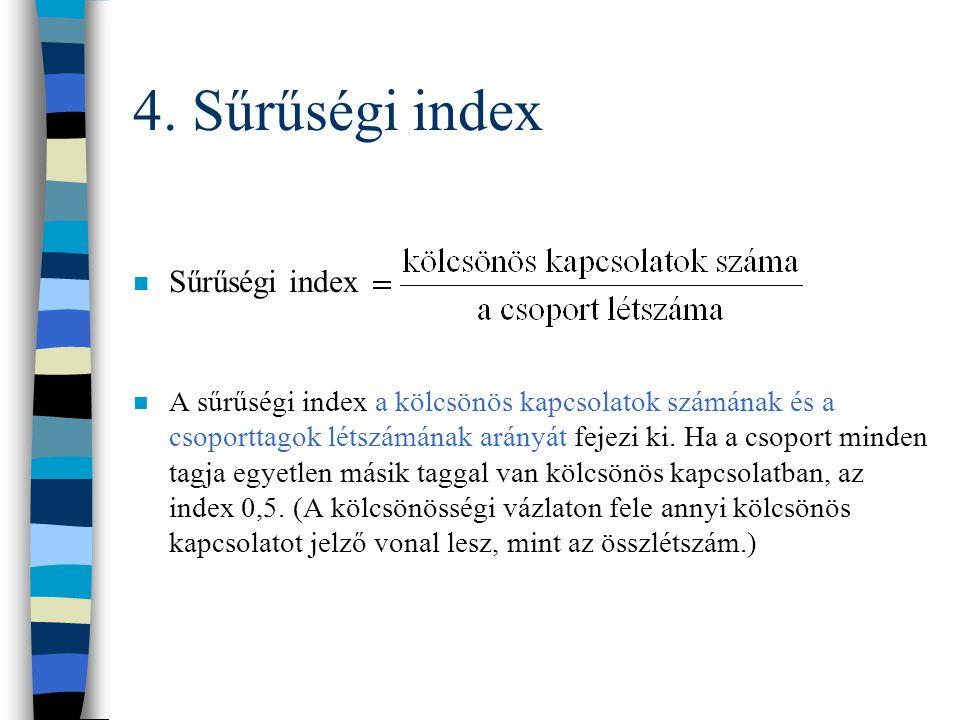 4. Kölcsönösségi index A kölcsönösségi index a kölcsönös kapcsolattal rendelkező csoporttagok számát fejezi ki a csoport összes taglétszámához képest.