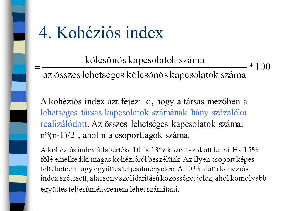 4. Sűrűségi index n Sűrűségi index A sűrűségi index a kölcsönös kapcsolatok számának és a csoporttagok létszámának arányát fejezi ki. Ha a csoport min
