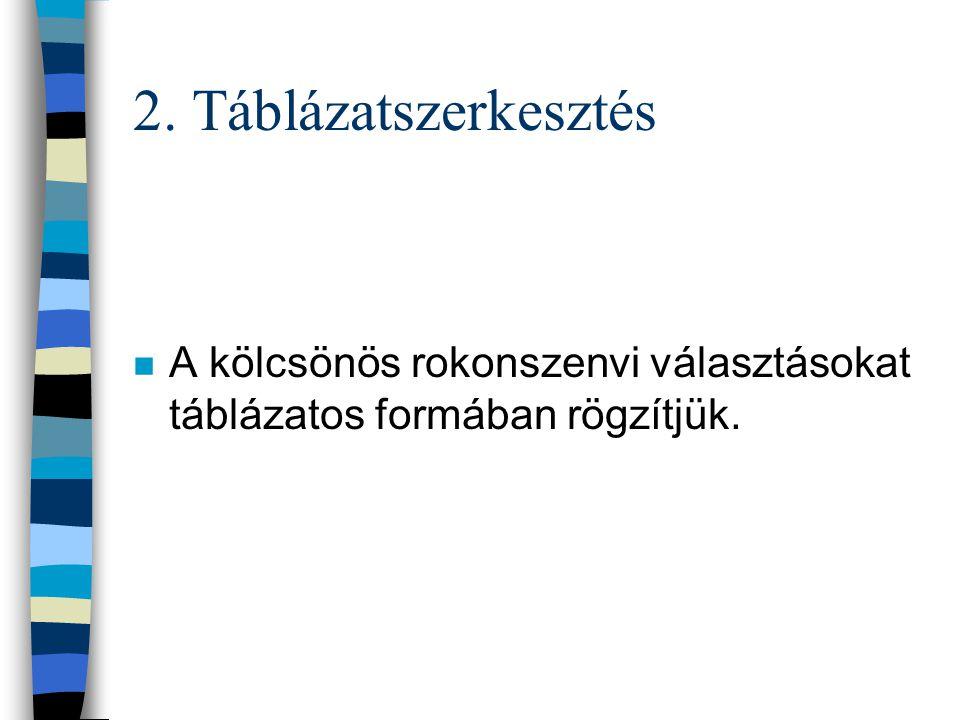 2. Táblázatszerkesztés n A kölcsönös rokonszenvi választásokat táblázatos formában rögzítjük.