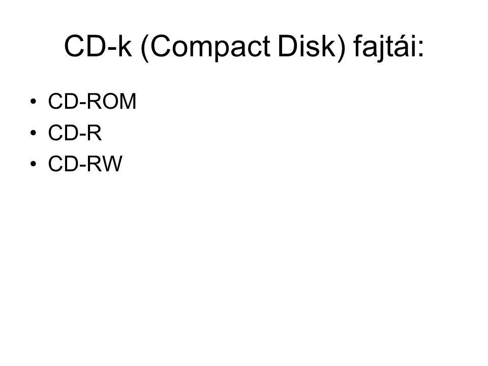 CD-k (Compact Disk) fajtái: CD-ROM CD-R CD-RW