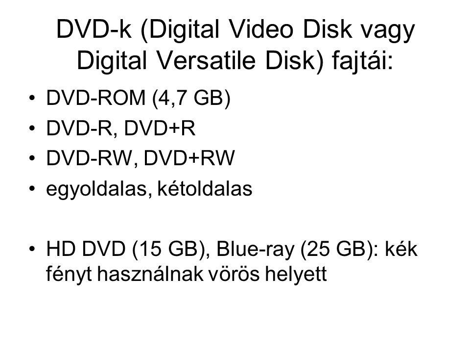 DVD-k (Digital Video Disk vagy Digital Versatile Disk) fajtái: DVD-ROM (4,7 GB) DVD-R, DVD+R DVD-RW, DVD+RW egyoldalas, kétoldalas HD DVD (15 GB), Blue-ray (25 GB): kék fényt használnak vörös helyett