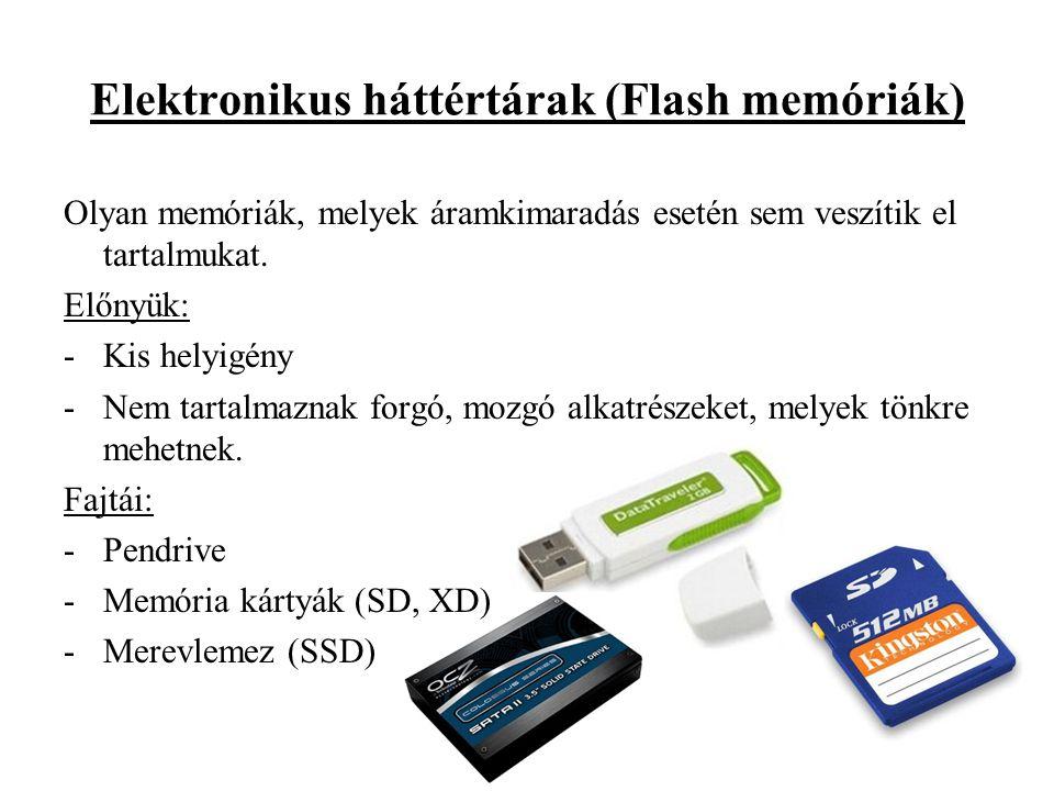 Elektronikus háttértárak (Flash memóriák) Olyan memóriák, melyek áramkimaradás esetén sem veszítik el tartalmukat.