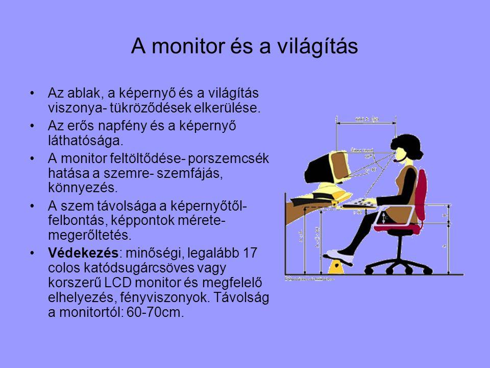 A monitor és a világítás Az ablak, a képernyő és a világítás viszonya- tükröződések elkerülése. Az erős napfény és a képernyő láthatósága. A monitor f