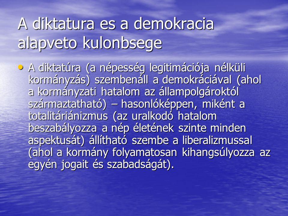 A diktatura es a demokracia alapveto kulonbsege A diktatúra (a népesség legitimációja nélküli kormányzás) szembenáll a demokráciával (ahol a kormányzati hatalom az állampolgároktól származtatható) – hasonlóképpen, miként a totalitáriánizmus (az uralkodó hatalom beszabályozza a nép életének szinte minden aspektusát) állítható szembe a liberalizmussal (ahol a kormány folyamatosan kihangsúlyozza az egyén jogait és szabadságát).