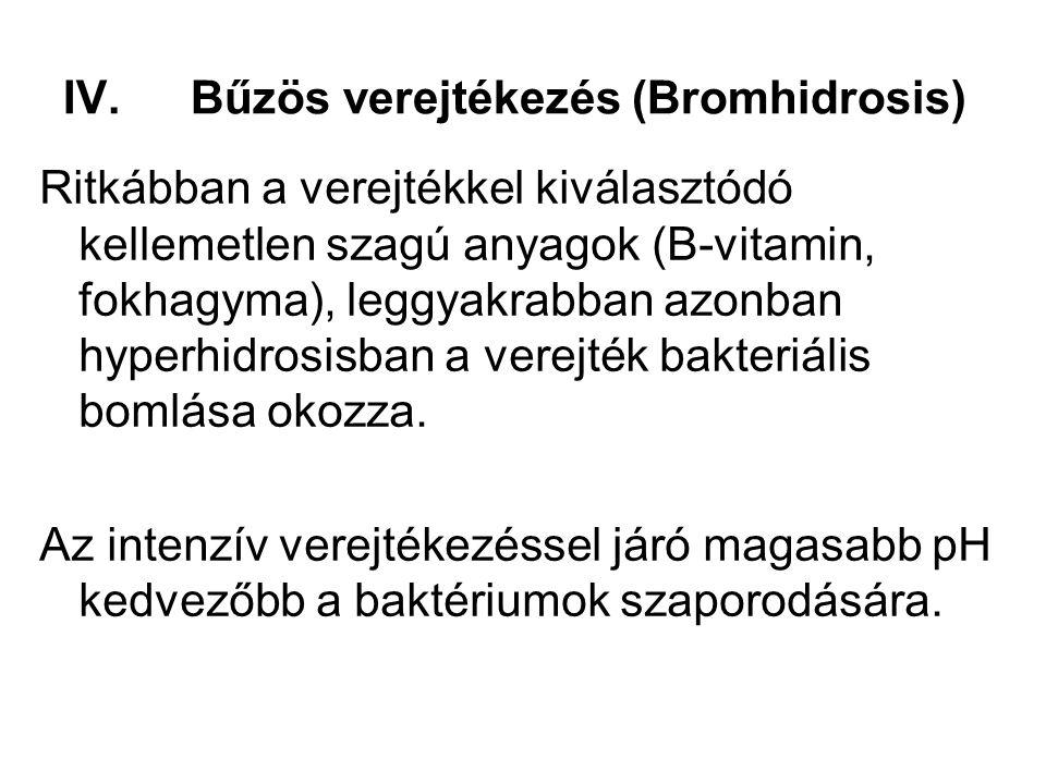 IV.Bűzös verejtékezés (Bromhidrosis) Ritkábban a verejtékkel kiválasztódó kellemetlen szagú anyagok (B-vitamin, fokhagyma), leggyakrabban azonban hype