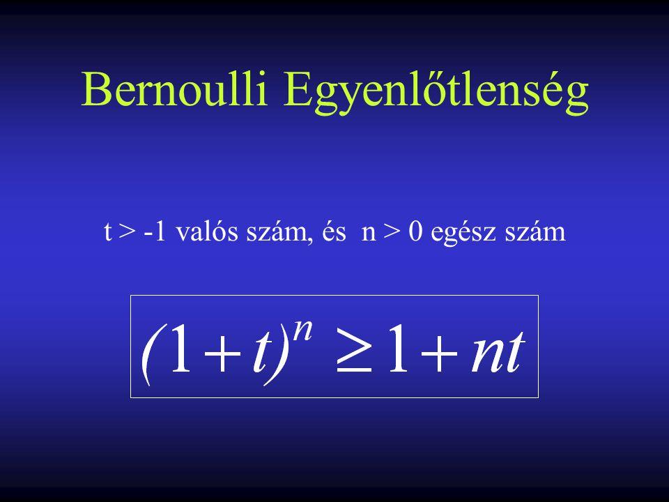 Általánosított Bernoulli- egyenlőtlenség Ha n>1 egész, és a t 1, t 2, …,t n valós számok mindegyike vagy a (-1, 0] vagy a[0, ∞) intervallumon van, és van közöttük legalább kettő nullától különböző, akkor (1+t 1 )·(1+t 2 ) · … · (1+t n )>1+t 1 +t 2 +…+t n