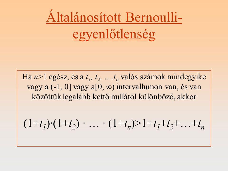 Bizonyítás: Teljes indukcióval I.n = 2-re teljesül az állítás, hiszen (1+t 1 ) · (1+t 2 ) = 1+t 1 +t 2 +t 1 · t 2 és t 1 · t 2 >0 a kezdeti feltételek miatt.