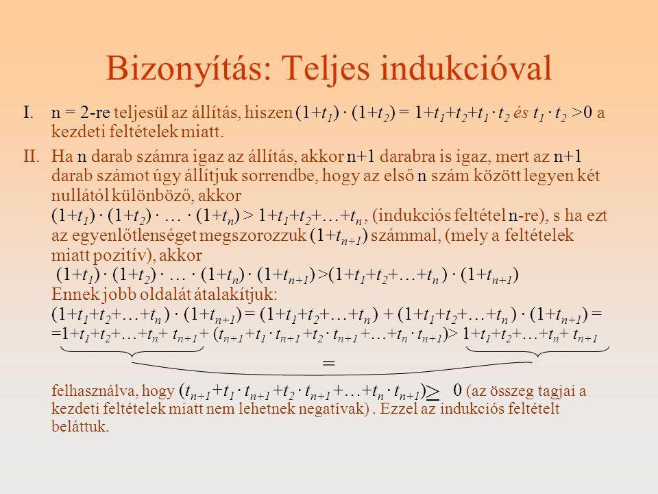 Bizonyítás: Teljes indukcióval I.n = 2-re teljesül az állítás, hiszen (1+t 1 ) · (1+t 2 ) = 1+t 1 +t 2 +t 1 · t 2 és t 1 · t 2 >0 a kezdeti feltételek
