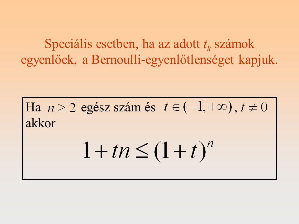 Speciális esetben, ha az adott t k számok egyenlőek, a Bernoulli-egyenlőtlenséget kapjuk. Ha egész szám és, akkor