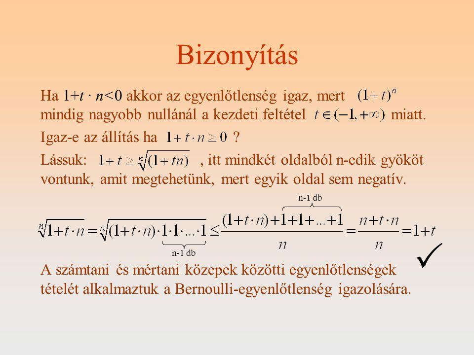 Bizonyítás Ha 1+t · n<0 akkor az egyenlőtlenség igaz, mert mindig nagyobb nullánál a kezdeti feltétel miatt. Igaz-e az állítás ha? Lássuk:, itt mindké