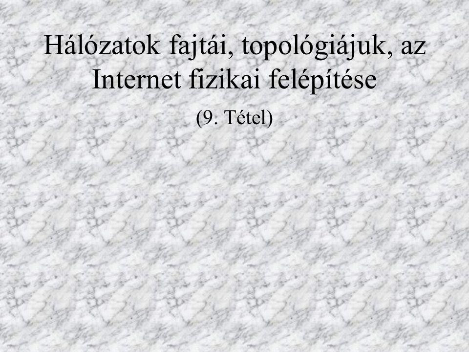 Hálózatok fajtái, topológiájuk, az Internet fizikai felépítése (9. Tétel)
