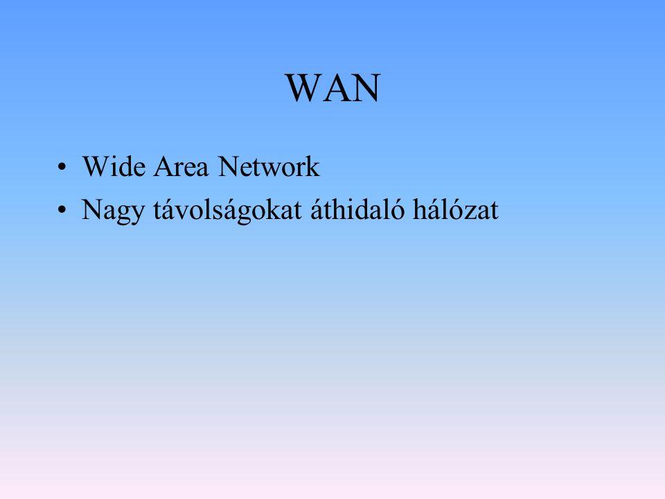 WAN Wide Area Network Nagy távolságokat áthidaló hálózat