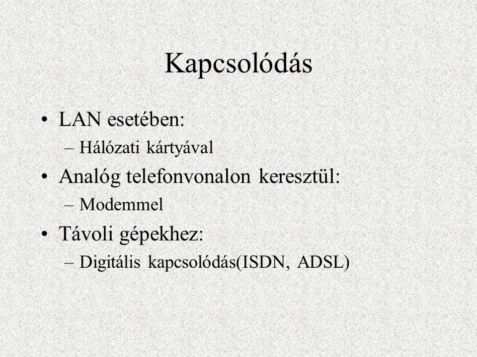 Kapcsolódás LAN esetében: –Hálózati kártyával Analóg telefonvonalon keresztül: –Modemmel Távoli gépekhez: –Digitális kapcsolódás(ISDN, ADSL)