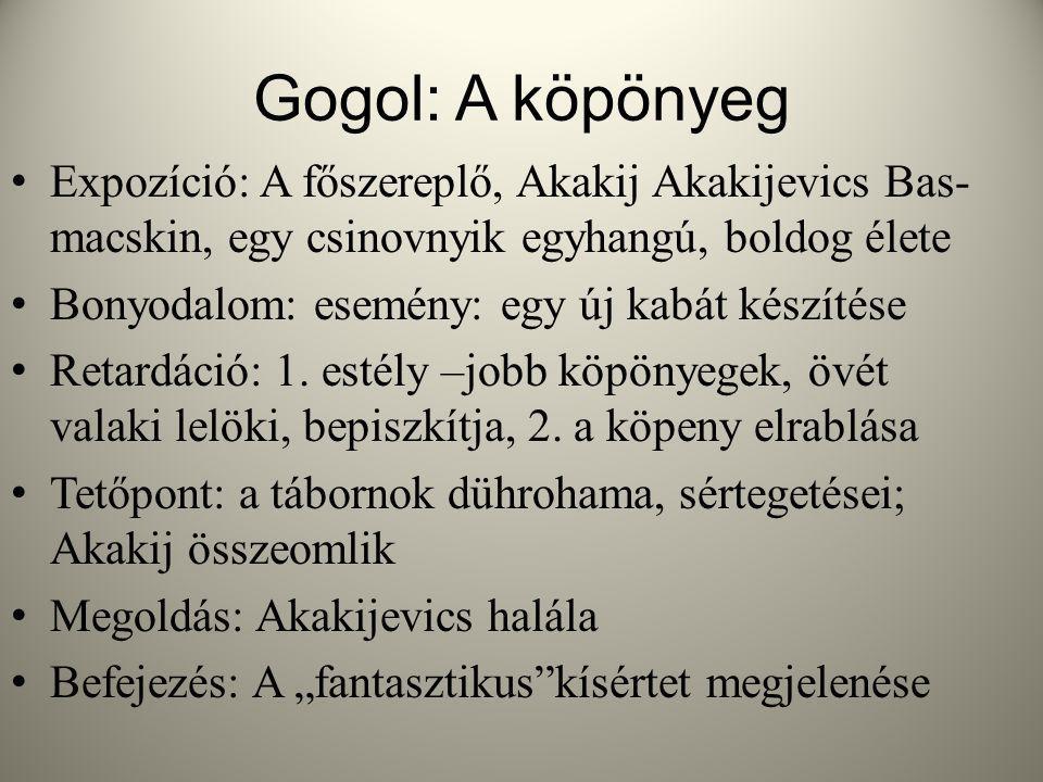 Gogol: A köpönyeg Expozíció: A főszereplő, Akakij Akakijevics Bas- macskin, egy csinovnyik egyhangú, boldog élete Bonyodalom: esemény: egy új kabát készítése Retardáció: 1.