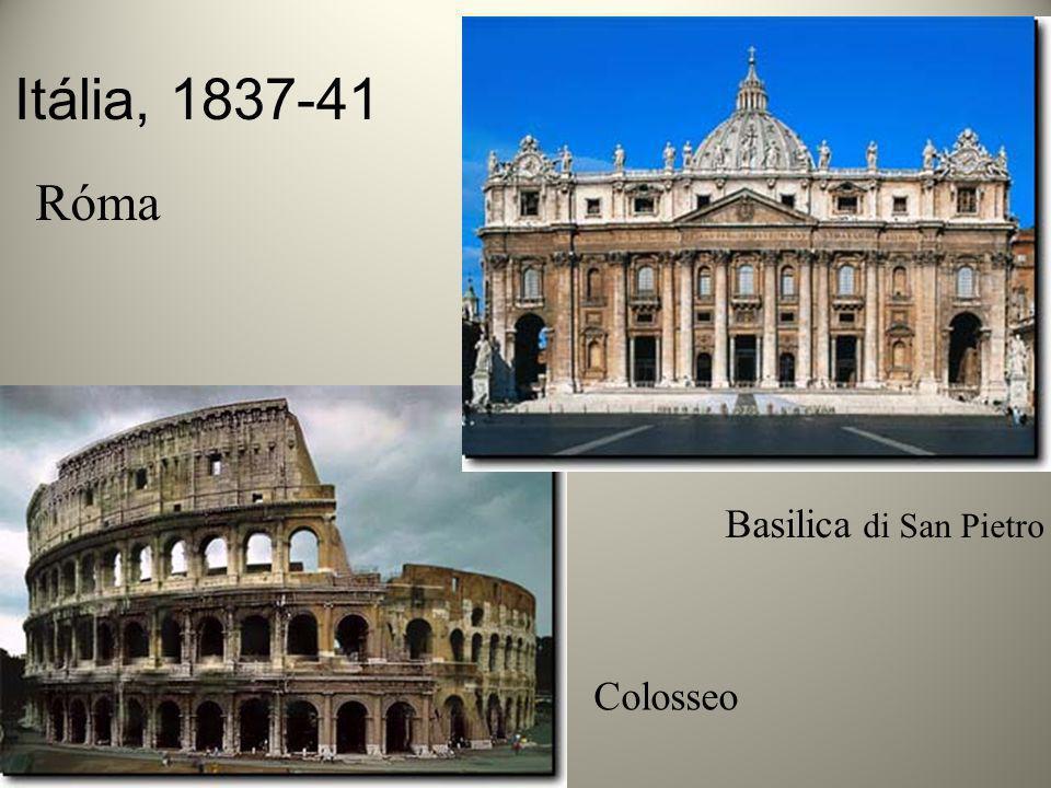 Itália, 1837-41 Róma Basilica di San Pietro Colosseo