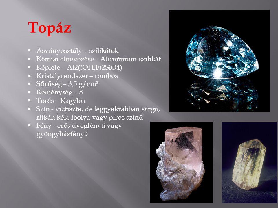 Topáz  Ásványosztály – szilikátok  Kémiai elnevezése – Alumínium-szilikát  Képlete – Al2((OH,F)2SiO4)  Kristályrendszer – rombos  Sűrűség – 3,5 g/cm³  Keménység – 8  Törés – Kagylós  Szín - víztiszta, de leggyakrabban sárga, ritkán kék, ibolya vagy piros színű  Fény - erős üvegfényű vagy gyöngyházfényű
