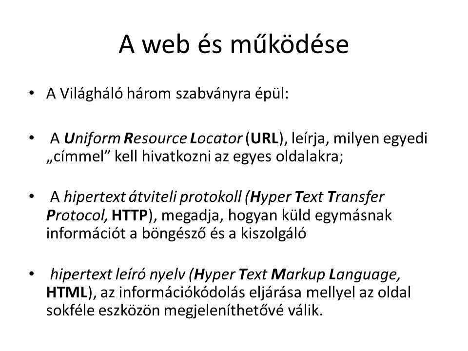 """A web és működése A Világháló három szabványra épül: A Uniform Resource Locator (URL), leírja, milyen egyedi """"címmel"""" kell hivatkozni az egyes oldalak"""