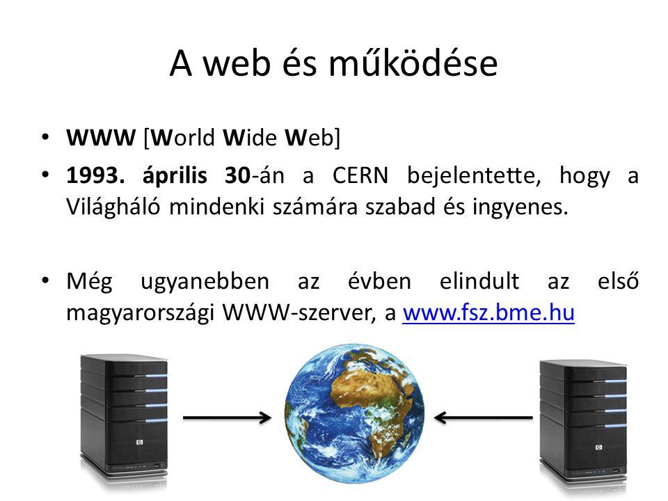 A web és működése WWW [World Wide Web] 1993. április 30-án a CERN bejelentette, hogy a Világháló mindenki számára szabad és ingyenes. Még ugyanebben a