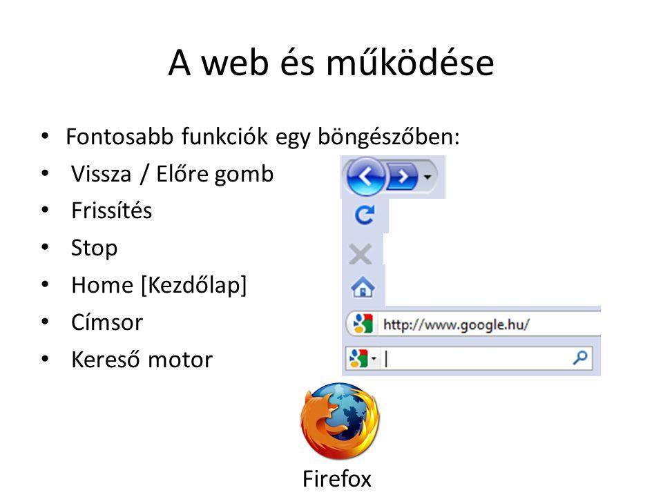 A web és működése Fontosabb funkciók egy böngészőben: Vissza / Előre gomb Frissítés Stop Home [Kezdőlap] Címsor Kereső motor Firefox